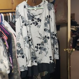 Maurices long sleeved knit top with sheer bottom